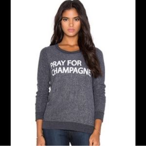Womens Chaser Pray For Champagne Crewneck Sweater